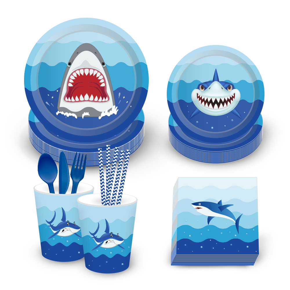 Baby Shark Birthday Party Paper Plates Kids Birthday Party Decorations Baby Shower Boy Party Decor Event Supplies in Disposable Party Tableware from Home Garden