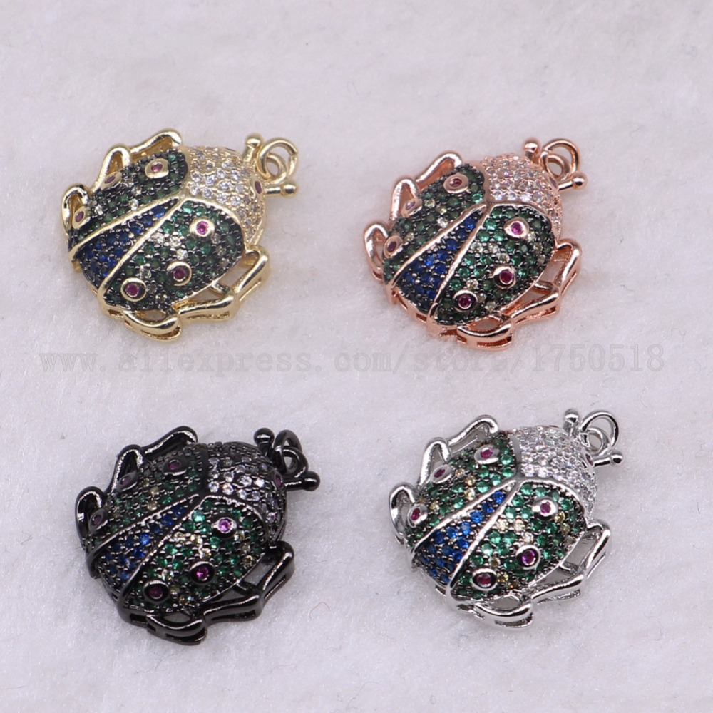 5 pieces bugs insects bee pendants for lady charm lady spider jewelry making micro paved mix color pendants pets beads 3287