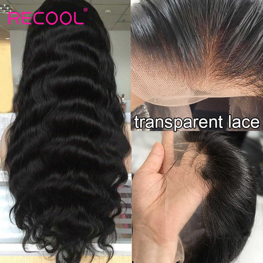 Recool HD şeffaf dantel peruk vücut dalga dantel ön İnsan saç peruk ön koparıp brezilyalı dantel ön peruk 150 180 250 yoğunluklu