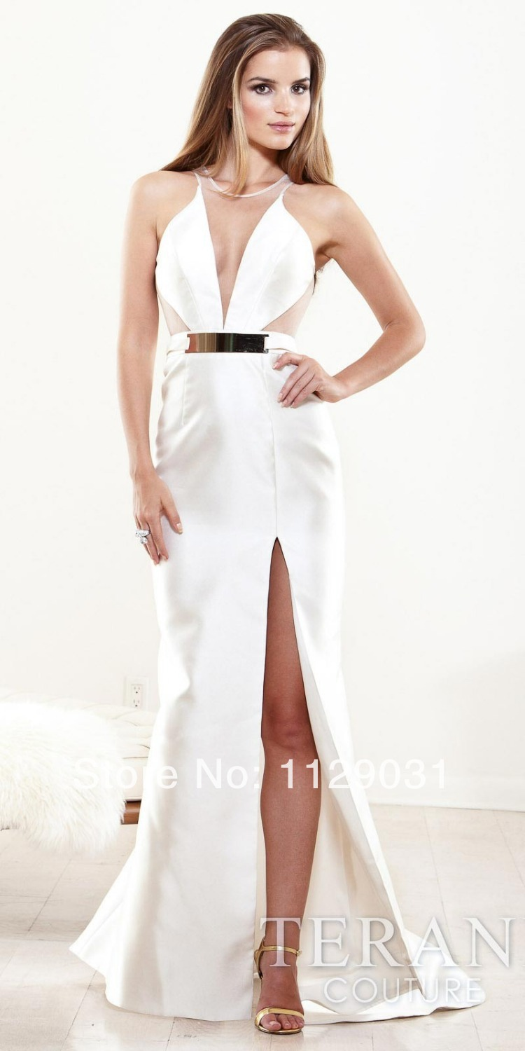 Sexy Illusion Cut Out Belted Leg Slit Glamorous Long Prom