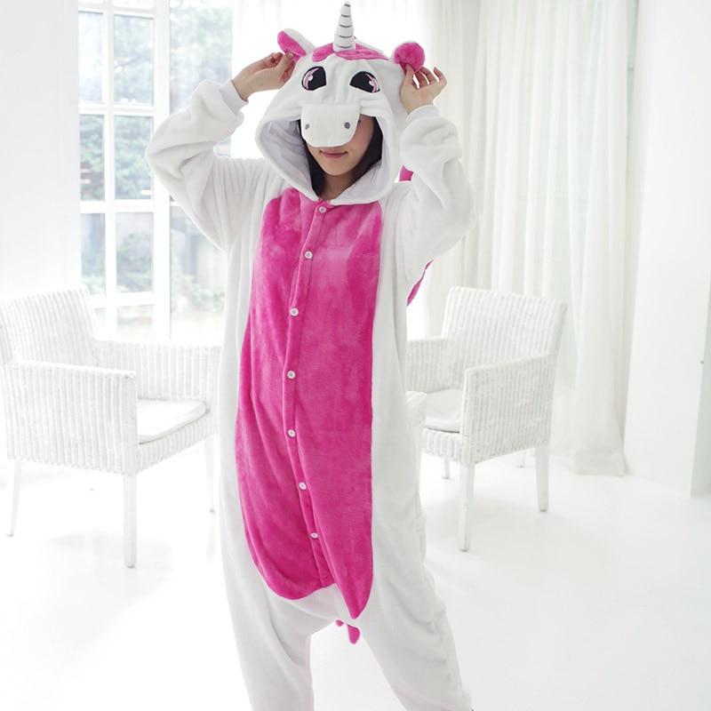 Unicorn Fashion Unisex Autumn and Winter Pajama Sets Anime cosplay Cute Cartoon Sleepwear Women Pajama Flannel Animal Pajama