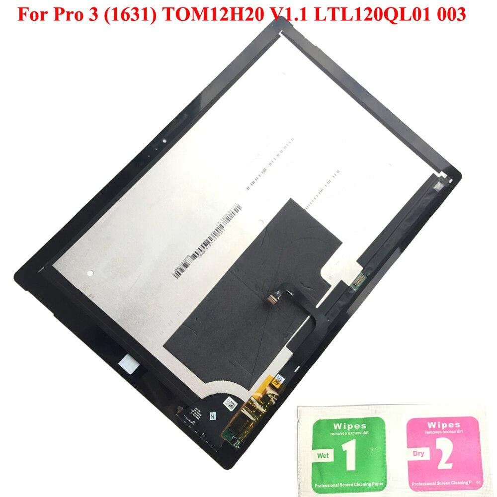Écran LCD pour Microsoft Surface Pro 3 LCD écran tactile numériseur panneau assemblage pour Pro 3 (1631) TOM12H20 V1.1 LTL120QL01 003