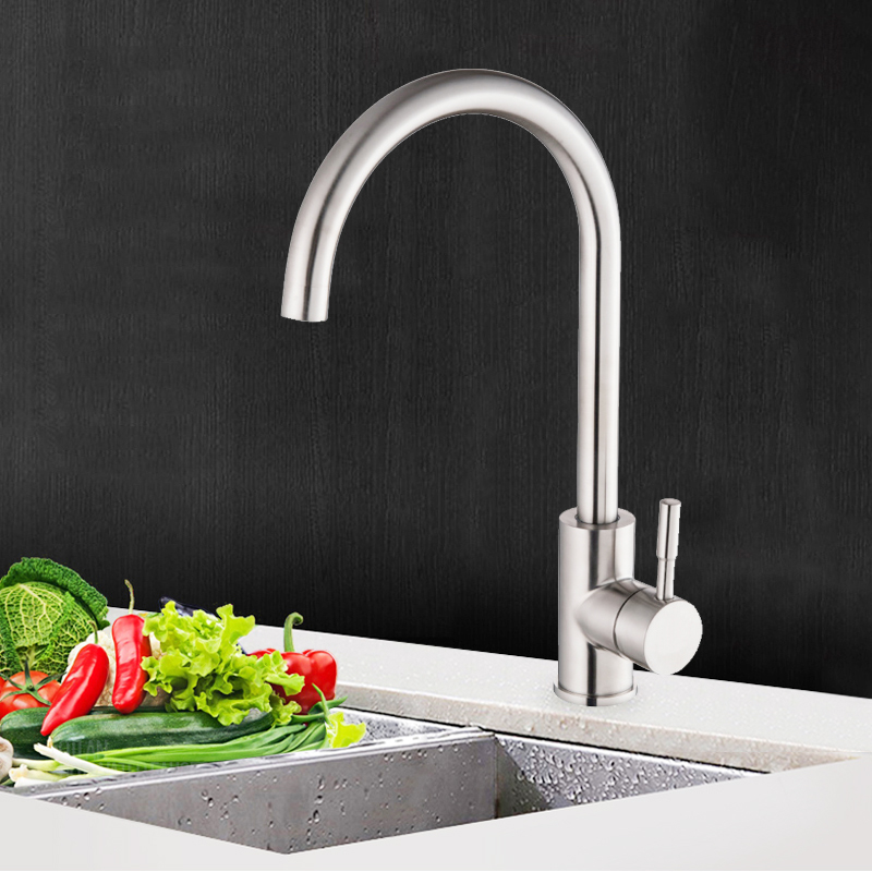 Kitchen Faucet Stainless Steel Single Handle Mixer Sink Tap Curved Single Cold Water Tap Bathroom Basin Water Faucet Deck Mount