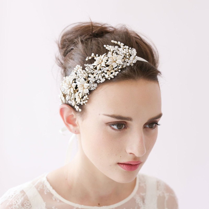Flower Hair Pieces For Wedding: Aliexpress.com : Buy Blooming Flowers Full Pearls Crystal