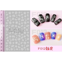 SUPER THIN SELF ADHENSIVE 3D NAIL ART NAIL SLIDER STICKER BLACK WHITE FLOWER JASMINE JEWEL CAT