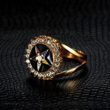 316L Rvs Gold Oes Vrijmetselaars Vrouwen Ringen Met Clear Crystal Kleur Emaille Volgorde Van Eastern Star Vrijmetselaar Ringen