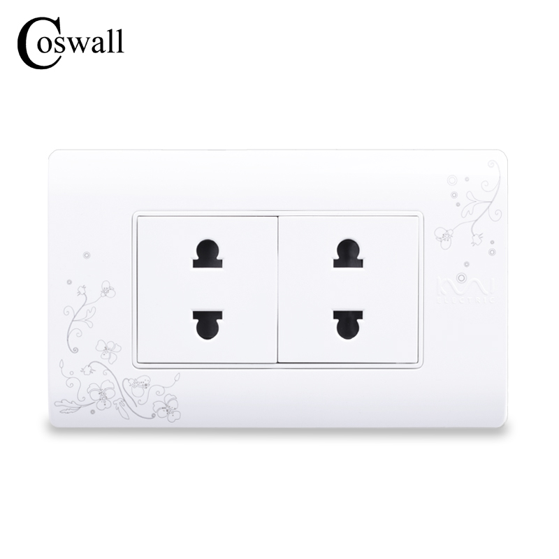 COSWALL EU/US Universal Plug Simple Style Wall Electrical Socket Multi-function 4 Hole Power Outlet With Child Protective Door