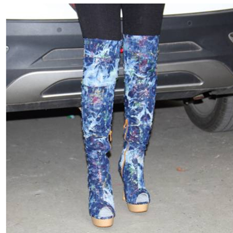 Arriba La Sexy Alto Rodilla Cm Tacón 45 Shofoo Boots Libre 12 Envío Size Manera Azul De Botas Shoes Del Mezclilla Por Tela 34 5 6xTwa