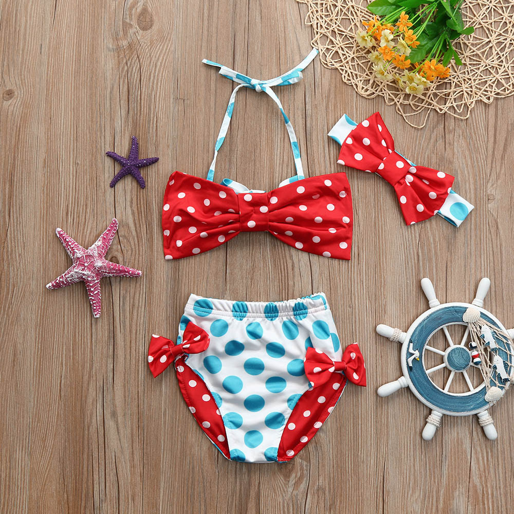 Infant Kids Baby Girls Swimwear Dots Bowknot Straps Swimsuit Bathing Bikini Set Sports Leisure Suit Mickey T-shirt