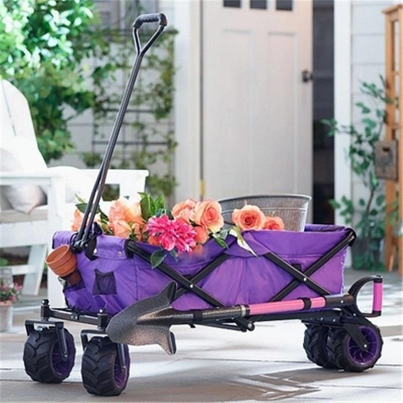 Ev ve Bahçe'ten Bahçe Arabaları'de Katlanır dört tekerlekli itme bahçe araba açık yardımcı vagon kamp plaj spor katlanır arabası sepeti bahçe alışveriş sepeti