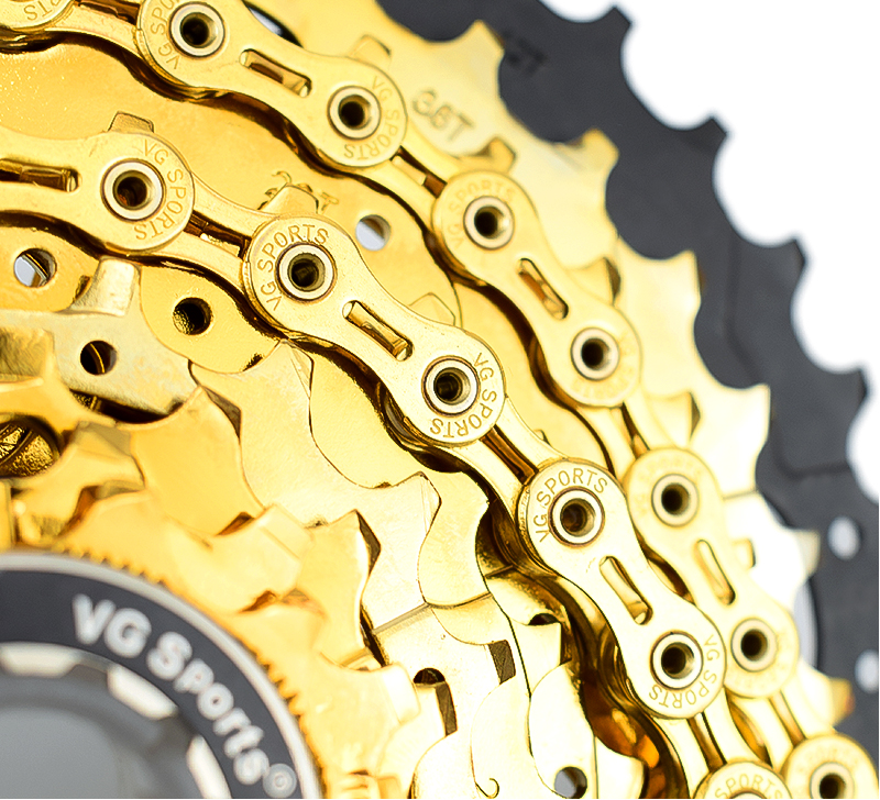 VG Sports 11Speed MTB Road Bike Bicycle Chain 116L Half-Hollow Chain Silver//Gold