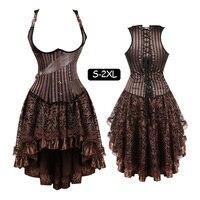Women Gothic Steampunk Tesla Steel Boned Underbust Corset Dress Striped lingerie Waist Training Corsets Vest skirt set plus size
