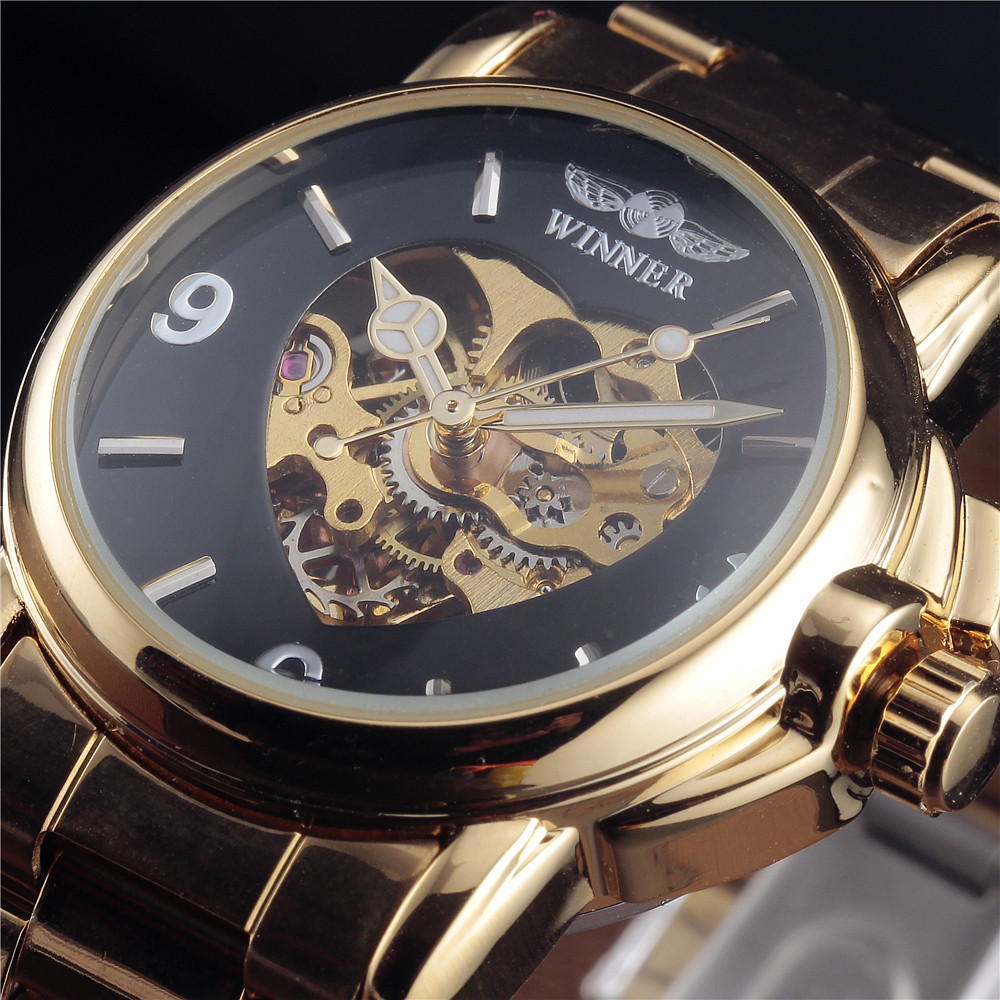 2017 WINNER Brand Women Watch Luxury Automatic Self Wind Watch Skeleton Black Dial Transparent Glass Gold Stainless Steel Band ultra luxury 2 3 5 modes german motor watch winder white color wooden black pu leater inside automatic watch winder