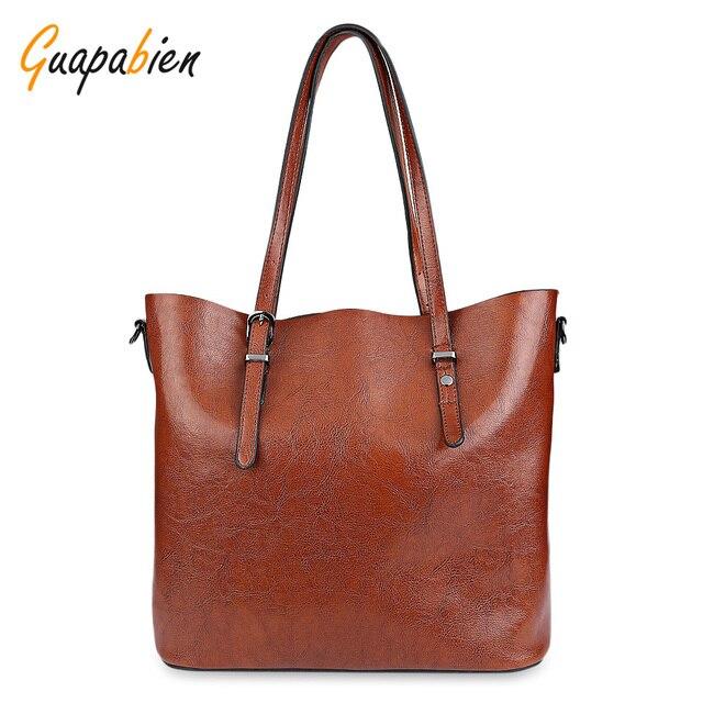 Guapabien Women Handbag Soft PU Oil Wax Leather Shoulder Bag Brand Women Bag Large Capacity Casual Tote Bag Crossbody Bag