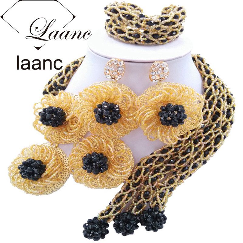 Laanc African Beads Black Gold Jewelry Set for Women Costume Nigerian Wedding Beads Flower Necklace and Earrings FBFE005 a suit of chic faux turquoise beads necklace and earrings for women