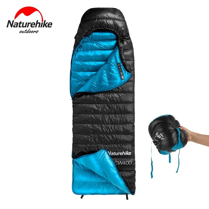 Naturehike CW400 Сверхлегкий 4 сезона квадратный гусиный пух альпинистский спальный мешок для холодной погоды водонепроницаемый спальный мешок для кемпинга