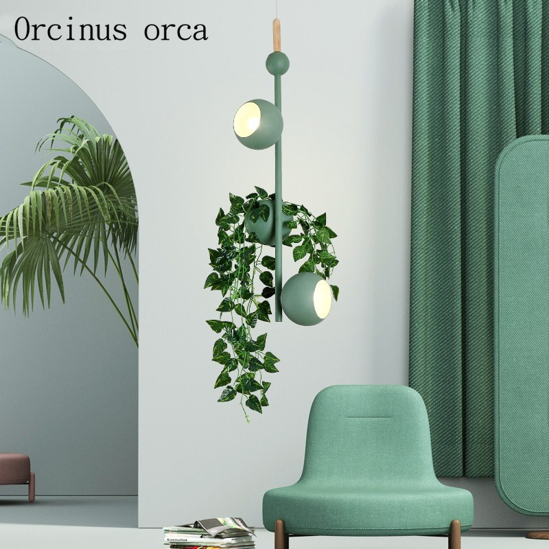 Nordic creative colourful plant chandelier living room bedroom modern minimalist potted iron Chandelier free shippingNordic creative colourful plant chandelier living room bedroom modern minimalist potted iron Chandelier free shipping