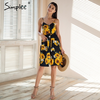 Simplee Strap v neck summer dress women Sunflower print backless party dress Casual vestidos high wasit midi dress female 2018 Платье