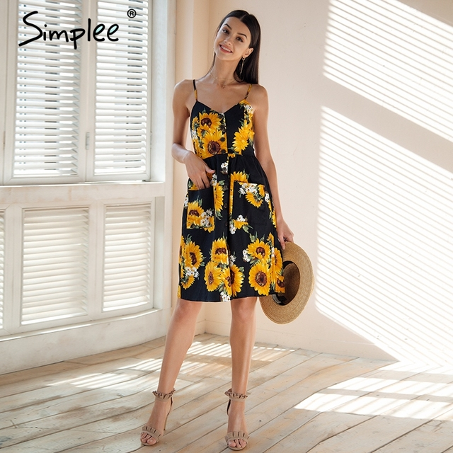 ce1da918a0 Simplee Strap v neck summer dress women Sunflower print backless casual  dress vestidos Smocking high waist