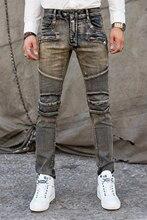 Free Shipping Men Jeans Fashion Biker Jeans Slim Fit Zipper Denim Ripped Design Straight Skinny Jeans Men Pants Plus Size