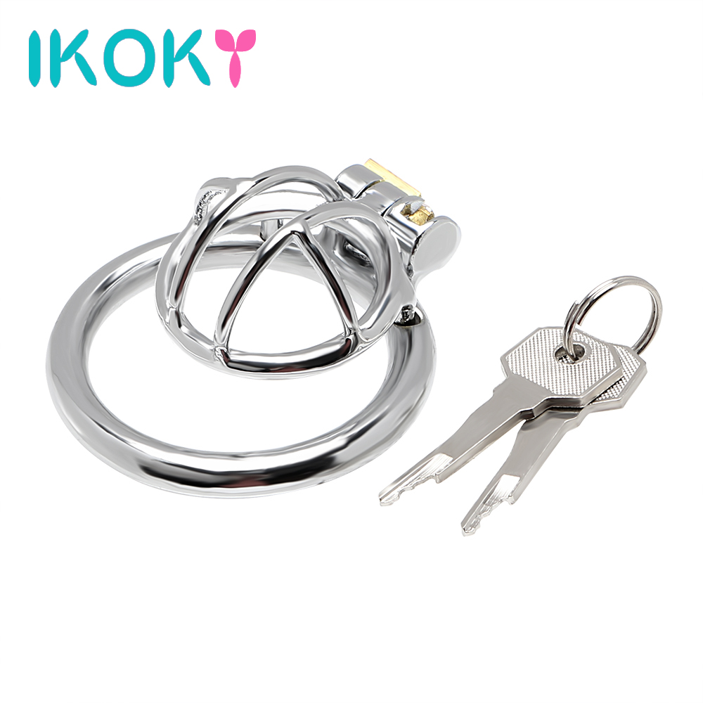 IKOKY Small Cock Cage Male Chastity Device <font><b>Penis</b></font> <font><b>Rings</b></font> Stainless <font><b>Steel</b></font> Sex Toys for Man Erotic image