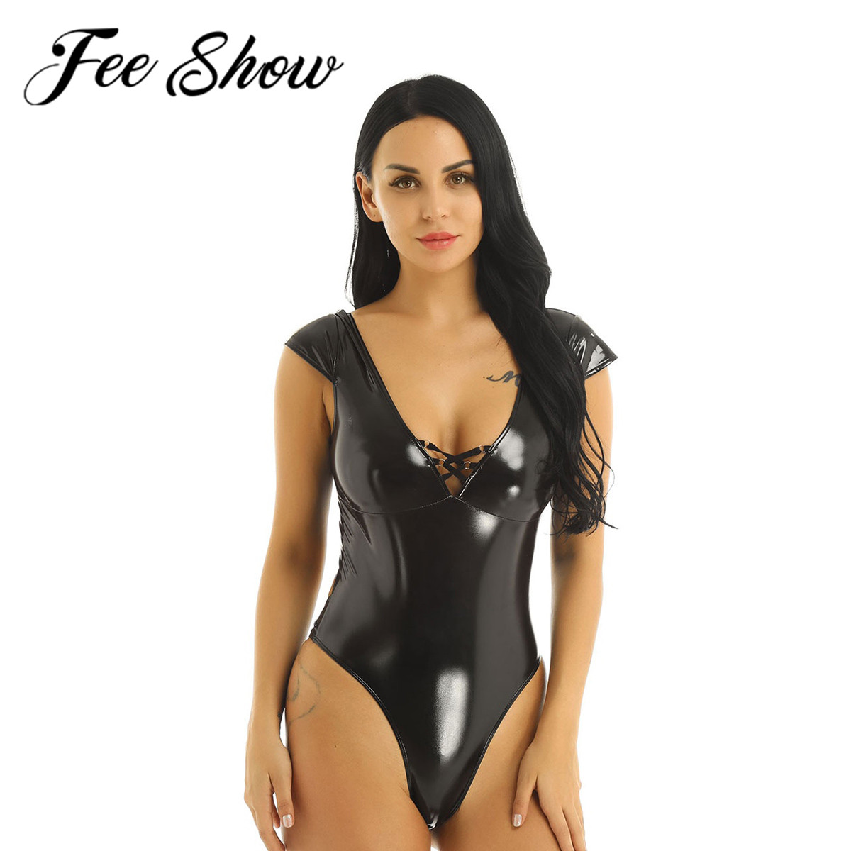Women Wetlook Leather Bodysuit High Cut Leotard Jumpsuit Clubwear Romper Catsuit