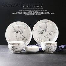 Marble European ceramic tableware set  restaurant rice bowl dish plate sauce dish disc home 4persons dinnerware set