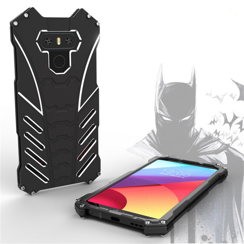 For LG G6 Case Armor Heavy Dust Metal Aluminum CNC BATMAN Protect Skeleton Head Phone Shell Case Cover+bracket