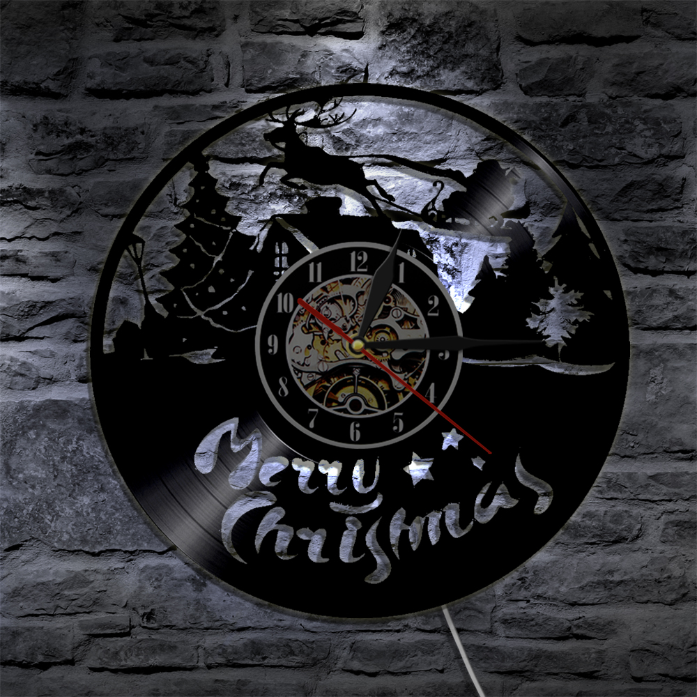 1 Stuk Vrolijk Kerstfeest Kerstman Boom Silhouet LED Backlight ...