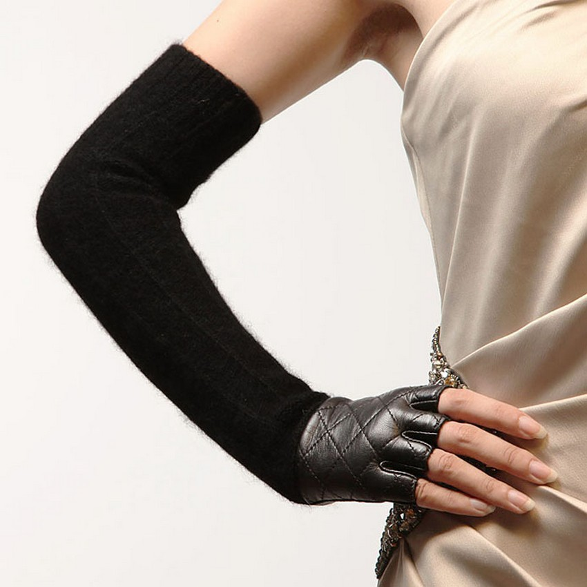 Promotion Women Sheepskin Long Fingerless <font><b>Gloves</b></font> Punk Fashion Genuine Leather Opera Solid Lady Mitten Winter Wool <font><b>Glove</b></font> L111NQ