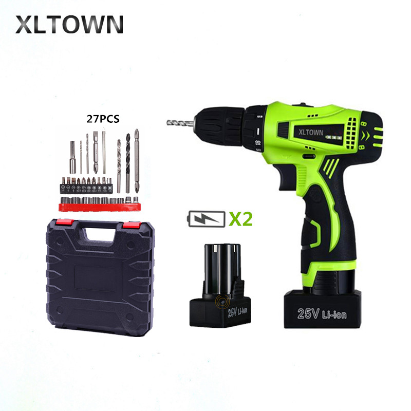 Xltown 25v two-speed rechargeable lithium battery electric screwdriver with 2 battery Household electric screwdriver Drill bits xltown 25v two speed 2 battery lithium battery electric screwdriver with a plastic box packaging 27pcs drill bit electric drill