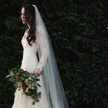 Lange Kathedraal Bridal Veils Tulle Starry Parels een Layer Sluiers met kam voor bruiden voile de Mariage Perles Longue