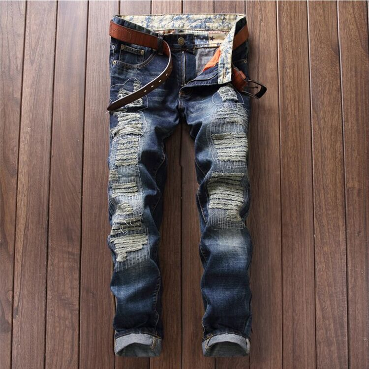2018 Rushed Limited Fake Designer Clothes Jeans Men Pants Straight Teenagers Cultivate Morality Mens Trousers Wholesale 781