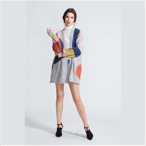 Fit Manches Femmes Slim Manteaux grey Mode 2018 Vêtements Contraste Casual Femme Longues Chandails Couleur Automne Ouvert Piqué Nouveau Cardigan Blue wfaqnIBxf
