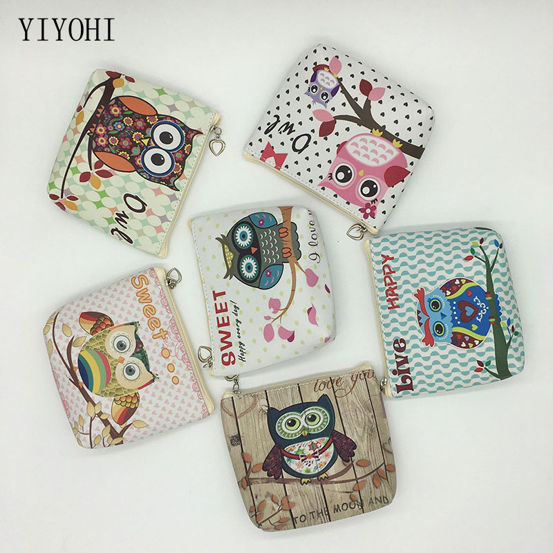 Cartoon Owl Pu Leather Coin Purses Small Fresh Casual Coin Wallet Lady Fashion Animal Pattern Cute Dollar Money Bag Kid Gift