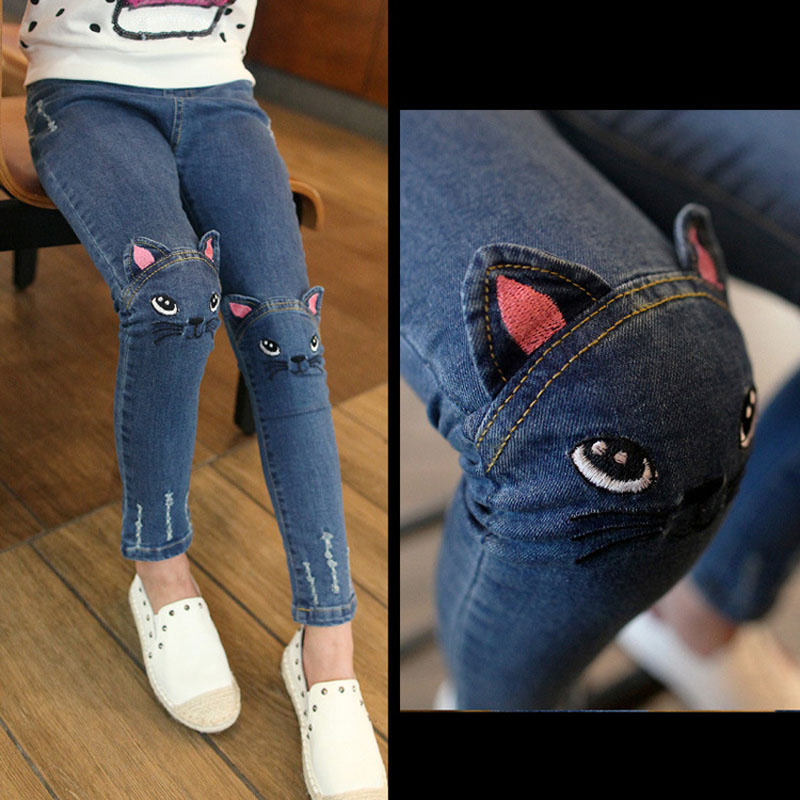 Girls Leggings Fashion Cartoon Cat Girls Jeans Pants Autumn Children Pencil Pants Kids Trousers Pantalon children s clothes girls autumn cotton pants kids casual jeans leggings blue color female child star hole trousers pencil pants