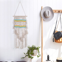 New Europe Hand Knotted Macrame Wall Art Handmade Cotton Boho Wall Hanging Tapestry with Lace Bohemian Wedding Decor