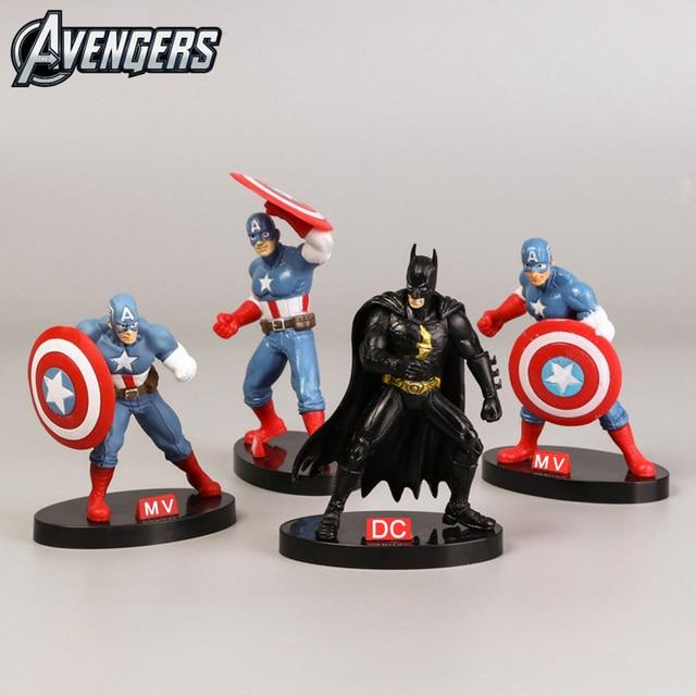 10 cm X 5 centímetros Mini Figura Conjunto de Super-heróis Vingadores Capitão América DC Justiça Batman Batman Meninos Toy PVC Modelo coleção Brinquedo do Miúdo