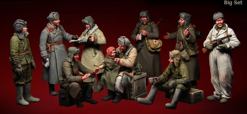 1:35 scale resin model kit resin figure model Soviet soldier big set 10 figures A3050 цены