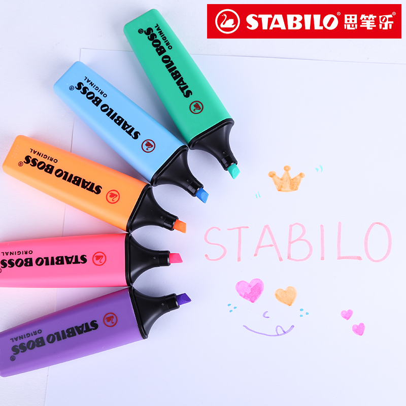 Stabilo Textmarker Boss Original 70 Highlighter Germany Purple/yellow/Pink/Orange/Light Green/Blue/Green/Rose Pink/Red color