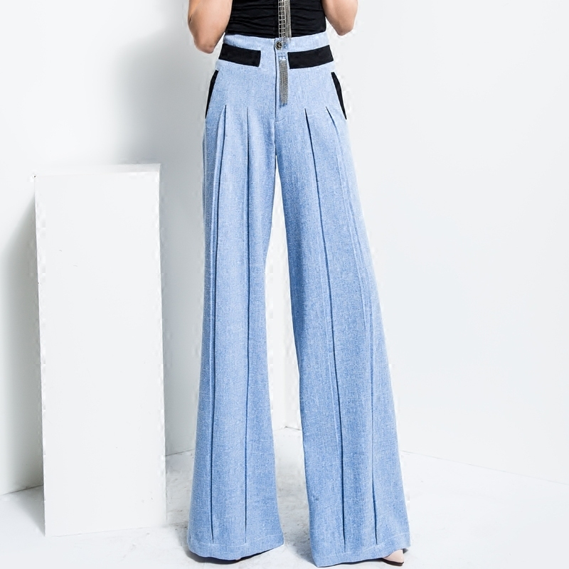 2018 Fashion Lady High Waisted   Wide     Leg     Pants   Women's Casual Loose Palazzo   Pants   Woman Spring Summer Blue Pleated Trousers