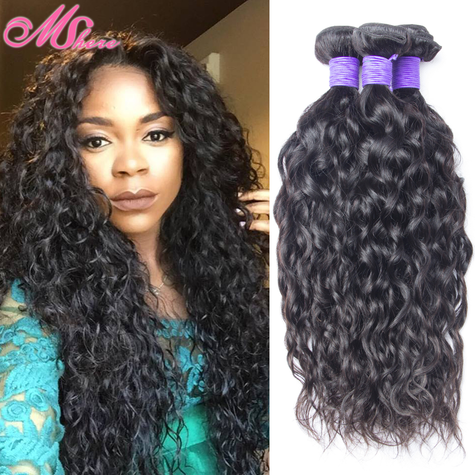 Mshere Malaysian Water Wave 4 Piece 7a Thick Human Hair Weave Bundle