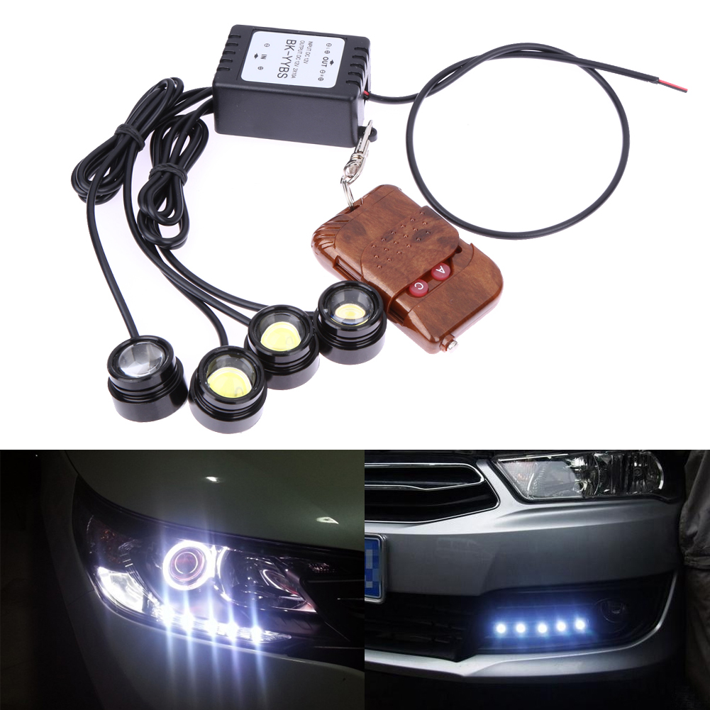 4in1 12V Hawkeye LED Car Emergency Strobe Light White Flash DRL Wireless Remote Control Kit Automotives Accessories 16 Patterns
