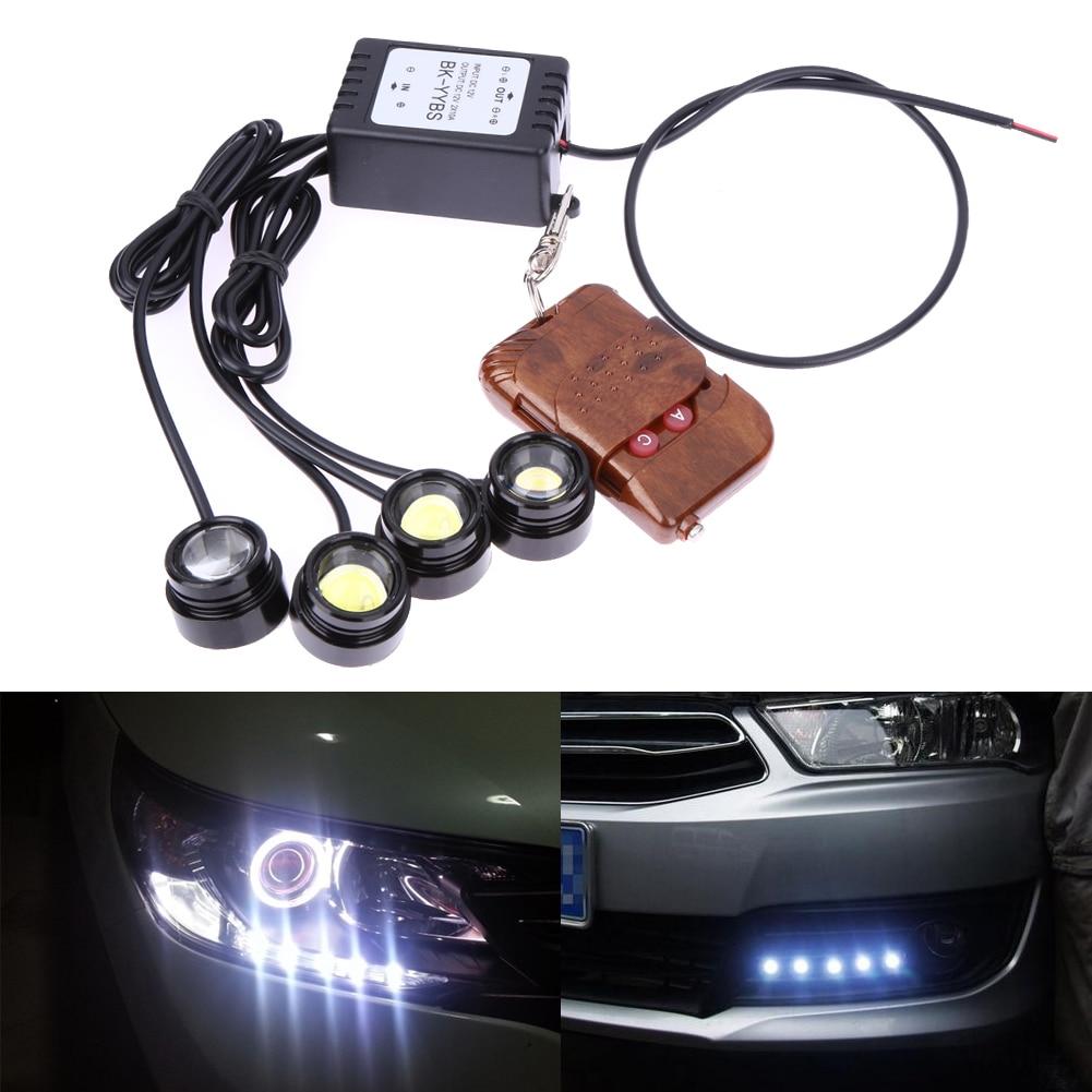 4in1 12V Hawkeye LED Car Emergency Strobe Light White Flash DRL Wireless Remote Control Kit Automotives Accessories 16 Patterns