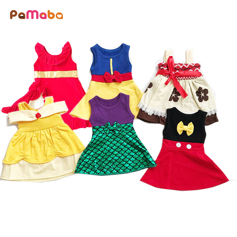 PaMaBa Little Girls Princess Rapunzle Snow White Dress Summer Casual Clothes Kid Trip Frocks Party Belle Minnie Merimaid Costume