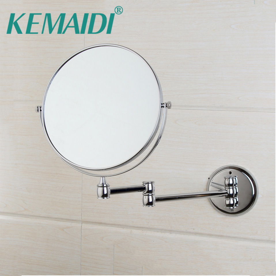 KEMAIDI Chrome Round Double-sided 3X Magnifying Mirror 8 Wall Mirror Vanity Mirror  Bathroom Compact Mirror Foldable Style large 8 inch fashion high definition desktop makeup mirror 2 face metal bathroom mirror 3x magnifying round pin 360 rotating