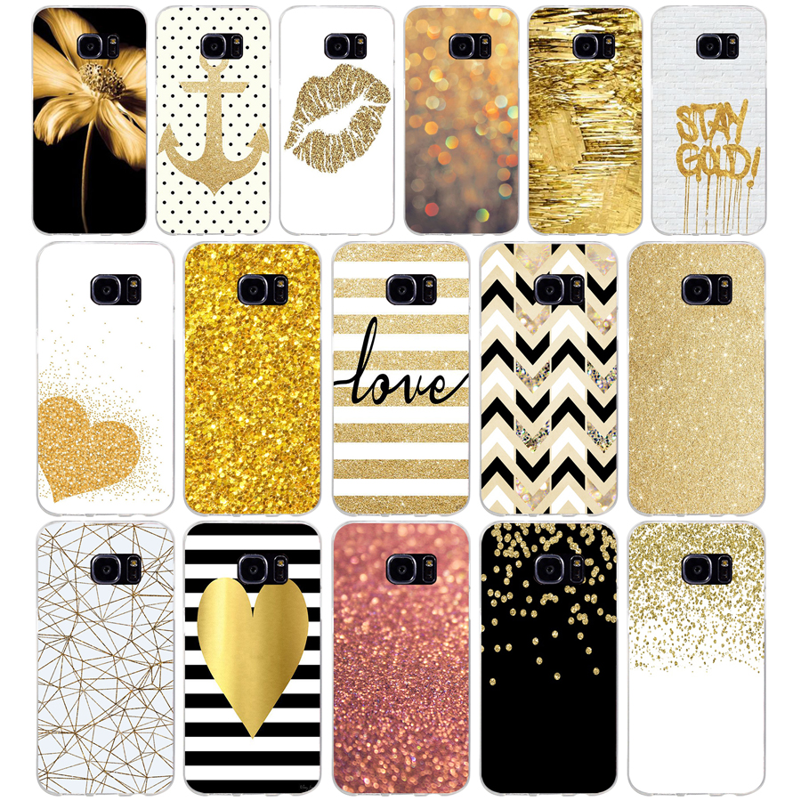110AQ amp yellow gold glitter Soft TPU Silicone Cover Case for samsung Galaxy s6 s6 s7 edge s8 s9 plus case image