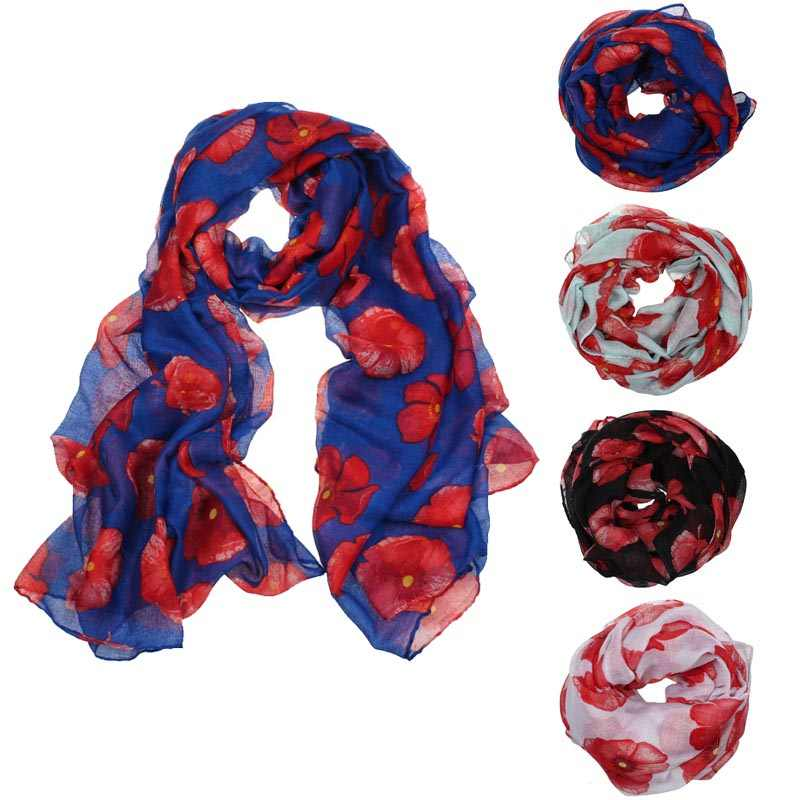 2019New Red Poppy Print Lange Sjaal Bloem Strand Wrap Dames Stole Shawl