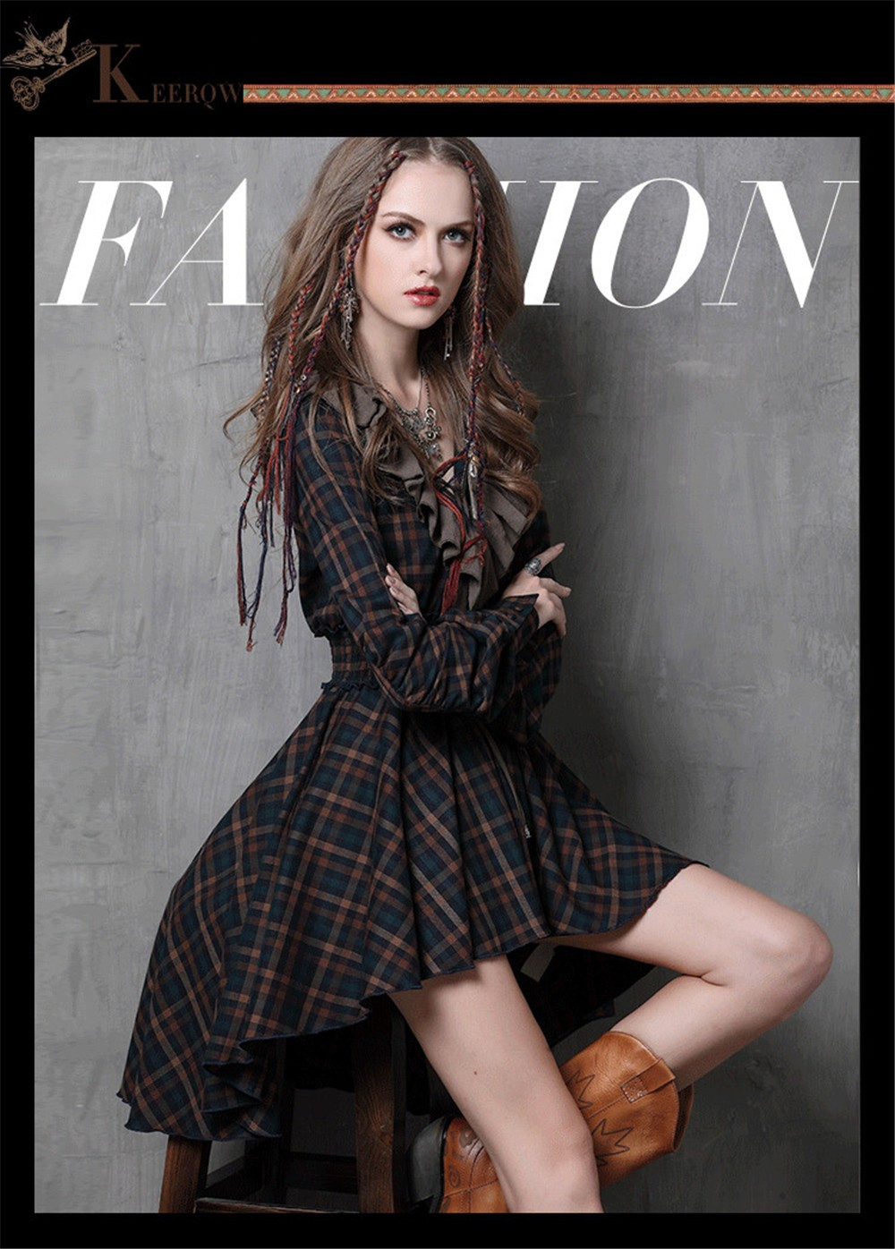 Vintage Autumn Elegant Plaid Women Dress Tunic 90% Cotton Dress Women Long Sleeve Ruffles Vestidos Femininos Vintage Dresses