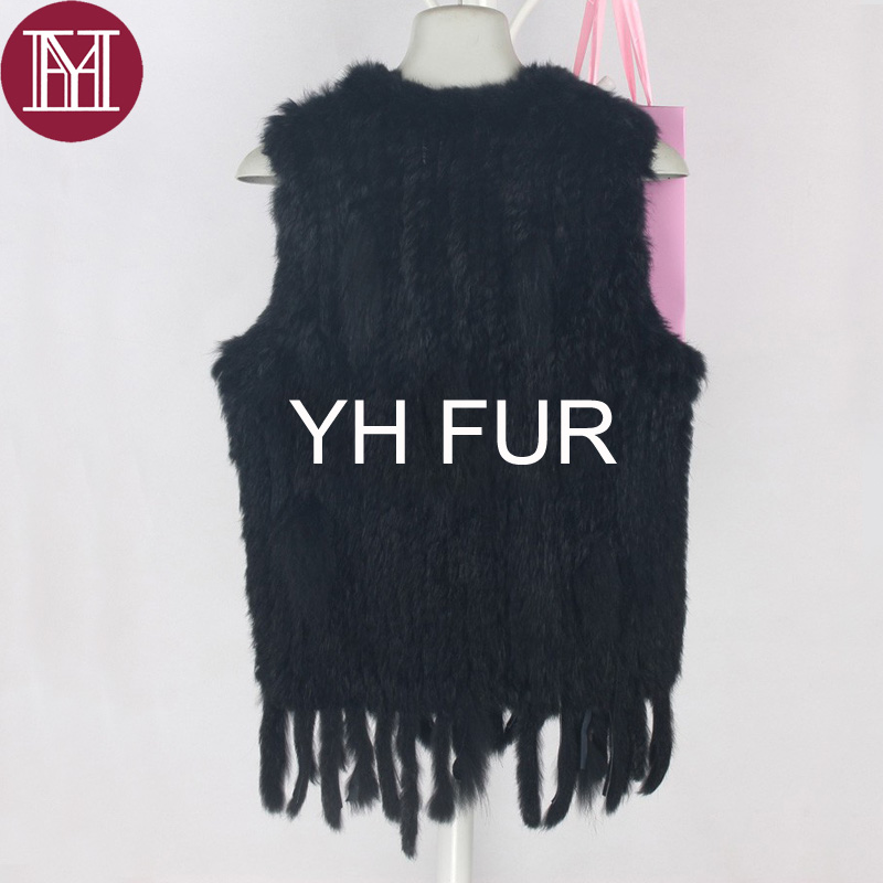 Image 3 - Winter women real rabbit fur vest with tassel lady knit 100% real